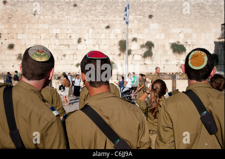 Graduates of the Israeli Army's Marva program, which allows young Jews from other countries to receive military - Stock Photo