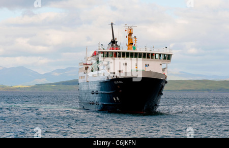 The Calmac ferry sailing from Oban on its way to Craignure on the Isle of Mull in Scotland - Stock Photo