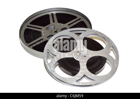 Reels of movie film and cannister on a white background - Stock Photo