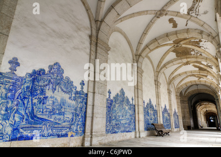 Famous church and cloister Sao Vicente de Fora Lisbon, Aisle decorated with traditional blue handpainted tiles. - Stock Photo