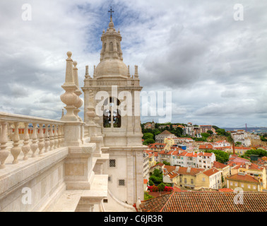 White roof with decorations and bell tower in mannerist style Lisbon, Portugal - Stock Photo