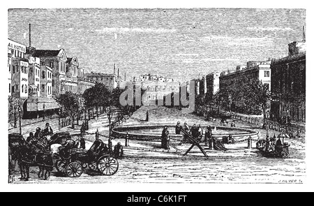 Tahrir Square (formerly Mohammed Ali Square and Place des Consuls), in Alexandria, Egypt. Scenic engraving. - Stock Photo