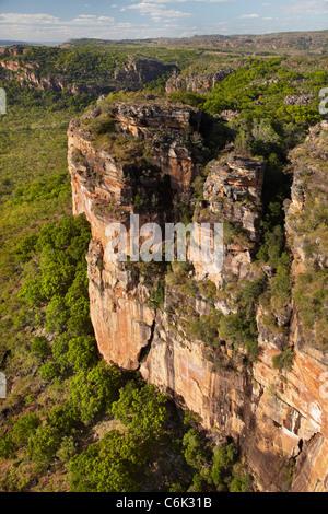 Arnhem Land Escarpment, Kakadu National Park, Northern Territory, Australia - aerial - Stock Photo