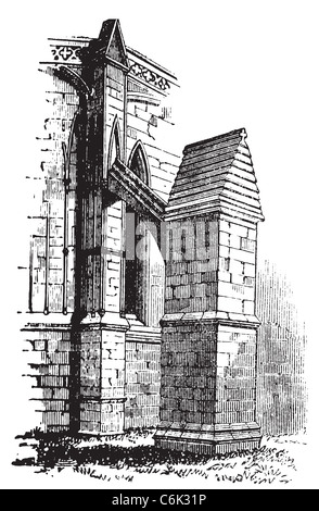 Buttress arch of Lincoln Cathedral chapter, England. Old engraving. Old engraved illustration of a buttres arch - Stock Photo
