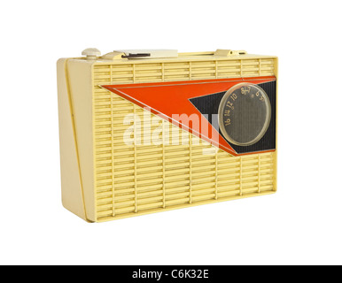 Grungy 1950's vintage googie radio isolated. - Stock Photo