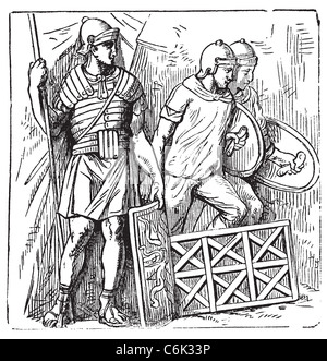 Roman armors and shield old engraving, based on the Trajan's Column. Vector, engraved illustration of roman soldier. - Stock Photo