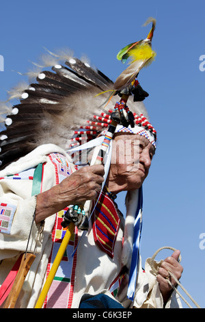 Portrait of an elderly Indian chief in a parade held on the Crow Reservation, Montana, during the annual Crow Fair - Stock Photo