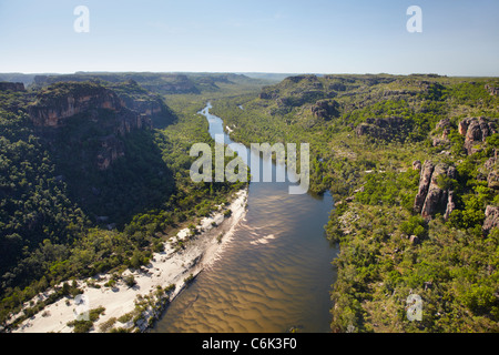 East Alligator River Valley, at the edge of Kakadu National Park, Arnhem Land, Northern Territory, Australia - aerial - Stock Photo