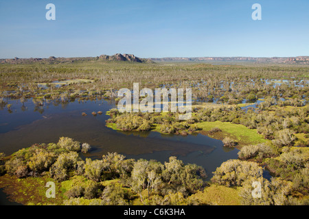 Wetlands of Tin Camp Creek and East Alligator River, at edge of Kakadu National Park, Arnhem Land, Northern Territory, - Stock Photo