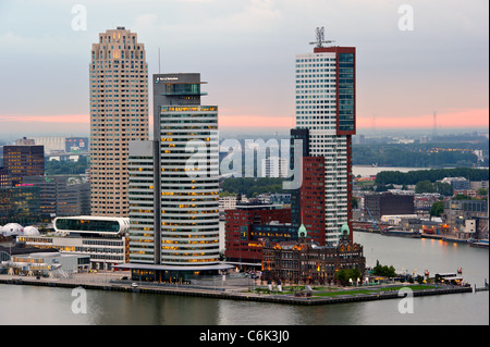 rotterdam skyline at sunrise - Stock Photo