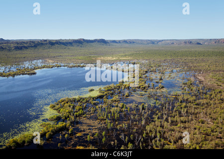 Wetlands by East Alligator River, at the edge of Kakadu National Park, Arnhem Land, Northern Territory, Australia - Stock Photo