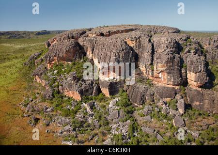 Rock outcrops near Ubirr, Kakadu National Park, Northern Territory, Australia - aerial - Stock Photo