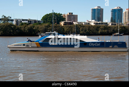 City Cat Ferry on the Brisbane River, Brisbane, Queensland,  Australia - Stock Photo