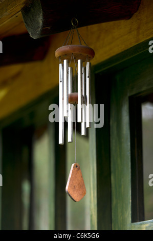 Wind chime hanging in a guesthouse, Willka Tika, Sacred Valley, Cusco Region, Peru - Stock Photo