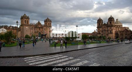 Cathedral Of Santo Domingo and Church De La Compania De Jesus, Plaza de Armas, Cuzco, Peru - Stock Photo