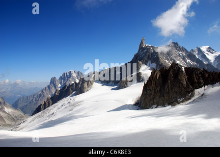 the glacier of Mont Blanc  seen from Telpherique station at Point Helbronner looking towards Aiguille du Midi - Stock Photo