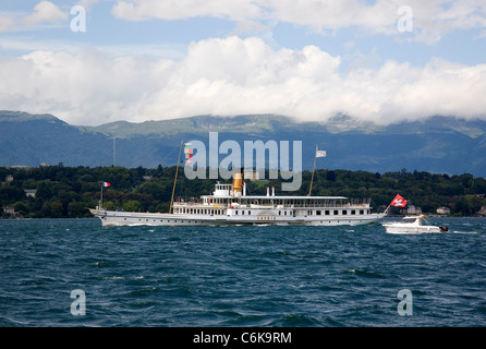 Geneva Paddle steam boat on Lake Geneva - Stock Photo