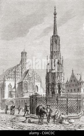 Schöner Brunnen and The Frauenkirche, Nuremberg, Bavaria, Germany in the 19th century. - Stock Photo
