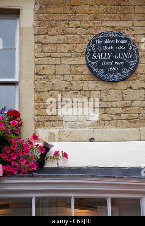 Plaque on wall of the oldest house in Bath 1842 Sally Lunn lived here 1680, Bath, Somerset UK in August - Stock Photo