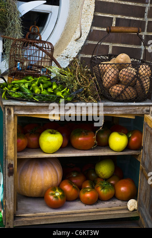 Storage cabinet for fresh fruits and vegetables - Stock Photo