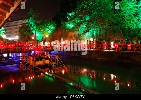 Rimini Bar at night, Zurich, Switzerland - Stock Photo