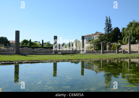 Courtyard & Columns Reflected in Pool at the Roman Ruins or City of Vaison-la-Romaine, Vaucluse, Provence, France - Stock Photo