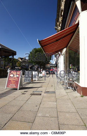 Cafe and sandwich boards on St. James Street Burnley Lancashire England - Stock Photo