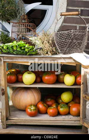 Cabinet for storing fresh fruits and vegetables - Stock Photo