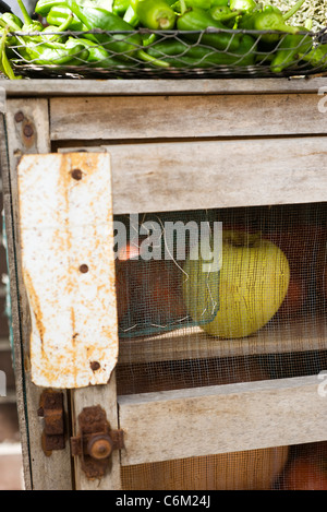 Cabinet used for storing produce, close-up - Stock Photo