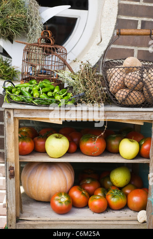 Cabinet used to store fresh fruits and vegetables - Stock Photo