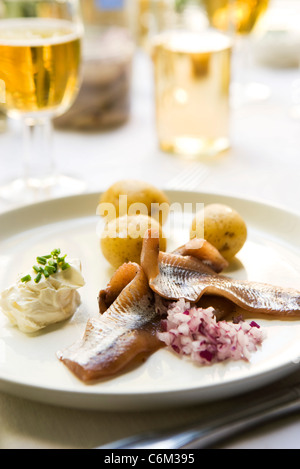 Pickled herring, new potatoes with sour cream - Stock Photo