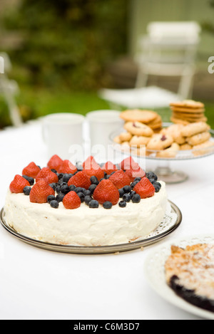 Strawberry blueberry cake on dessert table - Stock Photo