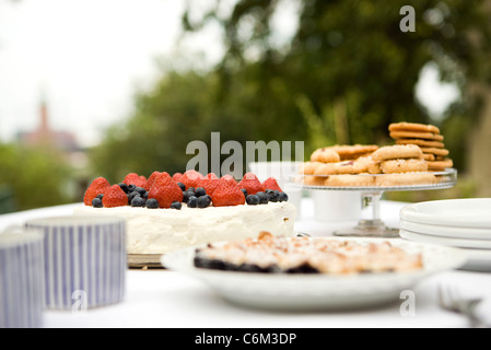 Assorted desserts on outdoor table - Stock Photo