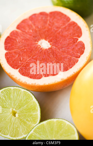 Grapefruit and lime halves