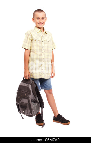 Full length portrait of a schoolchild with backpack isolated on white background - Stock Photo