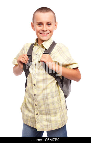 Portrait of a school child with backpack isolated on white background - Stock Photo