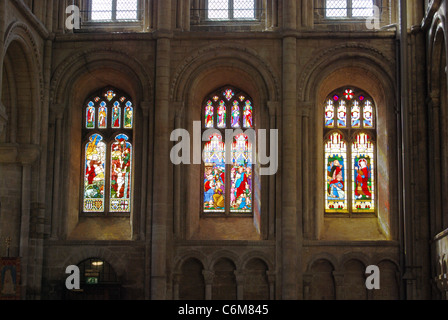Stained glass windows in the Cathedral, Peterborough, Cambridgeshire, England, UK, Western Europe. - Stock Photo