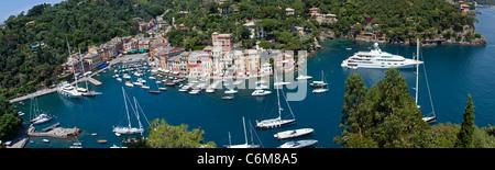 Portofino, fishing village with picturesque harbour, holiday resort, Liguria di Levante, italian riviera, Italy, - Stock Photo