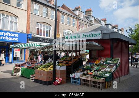 St Ann's Fruiters, a fruit market stall in Harrow town centre , September 2011 - Stock Photo