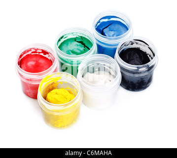 three paint cans isolated on white background - Stock Photo