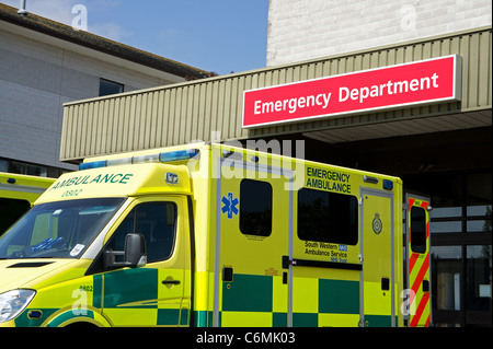 An ambulance outside the accident and emergency department at the royal cornwall hospital, truro, cornwall, uk - Stock Photo