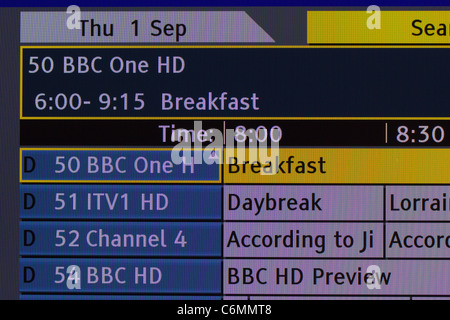 TV screenshot of Guide Plus Channel guide showing the HD channels now available via terrestrial Freeview transmission - Stock Photo