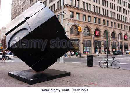 Alamo, commonly referred to as 'the Cube', is an interactive sculpture by Tony Rosenthal, in Astor Place - Stock Photo