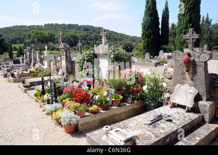 Small cemetery in Lourmarin, Provence region in France - Stock Photo