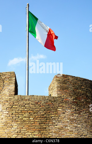 Italian flag on tower of The Saint Agel Castl. Rome. Italy - Stock Photo