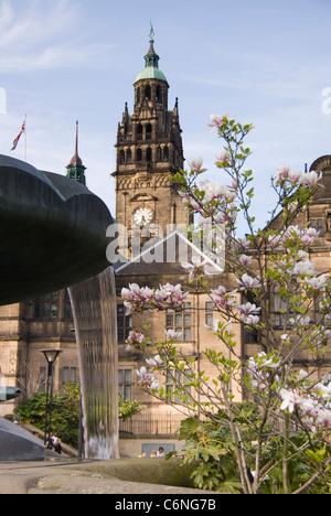Town Hall Clock Tower, Peace Gardens Fountain & Magnolia Tree Blossom, Sheffield City Centre, UK - Stock Photo