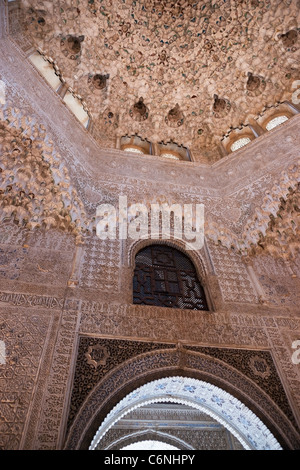 Sala de las Dos Hermanas hall of the two sisters Alhambra Granada Stock Photo...