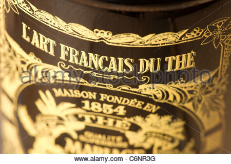 Expensive private tea in steel container cost 48 Euro - L'art Francais du The - Paris France - Stock Photo
