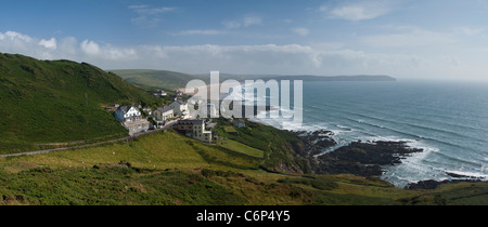 Looking along the North Devon Coastline towards Woolacombe Bay from Mortehoe, North Devon, England - Stock Photo