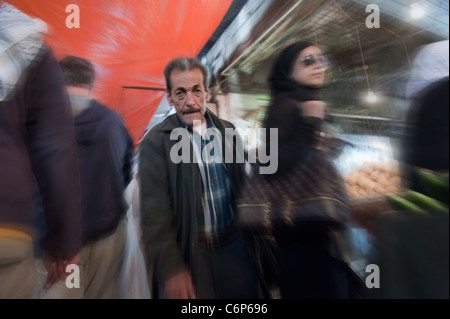 Bustling and crowded street market. Downtown Amman. Jordan - Stock Photo